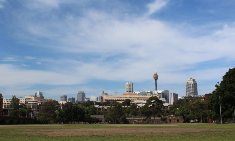 Sydney city vu de Wentworth Park